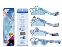 Wholesale New Frozen Combs Cute Princess Wooden Comb Elsa Anna Massage Hair Combing Good Quality Making Up Comb Girls Cartoon Gift Lovely Comb