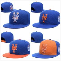 Cheap 2016 Men's NY sport team fitted caps two tone on field full closed design Mets royal blue baseball hats
