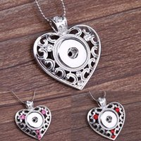 Wholesale 2015 New Hot NOOSA Metal Ginger Snap Button Heart Pendants Necklace with Crystal Jewelry Interchangeable Jewerly Colors