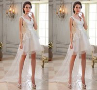 Wholesale Sexy Mini Dresses China - Spring 2016 Sheer Lace Beach Wedding Dresses With Applique Backless Short Garden Plus Size China Bride Wedding Dress Cheap Dress For Wedding