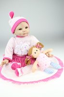 silicone baby dolls - 22 Inches CM Top Quality Gentle touch silicone vinyl reborn babies realistic baby doll Cute Pink Dress for children toy Gift