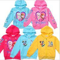 Cheap 2014 New cute baby clothes Girls Hoodies Sweatshirts Frozen Baby Girls Elsa Anna Princess Terry Hooded Jumper Cartoon Hoodies Outerwear