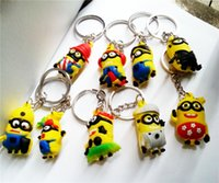 Wholesale 2015 Despicable Me Minions Action Figures anime Minion Keychain key chain Key Rings Design Cute toys