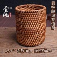 bamboo and rattan - Bamboo and rattan knitting cylinder Vietnamese tea tea accessories autumn rattan storage box with zero Detong Pen tea Liujunzi