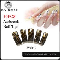 artistic nail designs - New fashion false nail art tips french nails artistic fake Nails Classic Black Brown Airbrush Design Long Fingernails