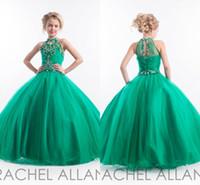 Wholesale 2016 Pageant Dresses Rachel Allan Glitz Cupcake Dress Halter Sleeveless Princess Crystal Beading Green Flower Girls Dress Birthday gowns