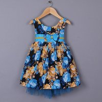 dress blue grace - New Design Flower Girl Dresses Blue Grace Kids dress With Bow Baby Clothing Wear GD41202