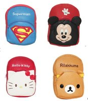 bear snack - EMS Children s cartoon pu bag girl boy students school bag easily bear superman mouse KITTY backpack baby toy backpack snack packs
