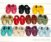 Wholesale Brand Design Baby kids genuine leather Slip On shoes Girls Cute tassel bowknot moccasins soft leather baby first walker shoes