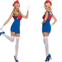 athletic dress shirts - High quality Sexy Women Super Mario Luigi Brothers Plumber Fancy Dress T shirt Party Sexy Costume Free DHL
