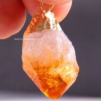 Cheap New Free Shipping Fashion Jewelry 16X30MM-25X40MM Water Drop Bead Natural Citrine Crystal Pendant 1Pcs K1716