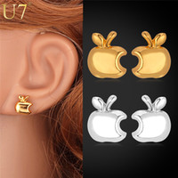 apple logo jewelry - Brand Logo Apple Earrings Lovely Gifts For Women New Platinum K Real Gold Plated Jewelry Plant Stud Earrings E448