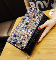 Wholesale 2015 New Korean version of the package Colored diamonds Clutch Rhinestone shoulder handbags Evening Bags Clutch