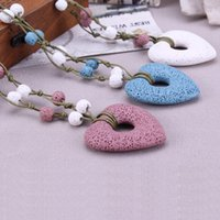 Wholesale Heart Lava Volcanic Rock Necklace Colors for Option Futuristic Long Necklace New Look Healthy Necklace lg104102