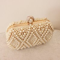 abs wedding dresses - Ivory Elegant Bridal Dresses Pearl Beads Custome Made Crystal Square Bag Wedding Accessories Clutches Lady Formal Bag ZYY