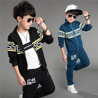 brand fashion tracksuits - New Fashion Big Boys Cotton Outfits Children Korean Tracksuits Kids Boys Jacket and Pants Suits Boys Cool Sets
