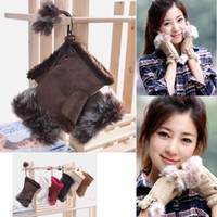 Wholesale 13 Color Winter Women Warm Beautiful Rabbit Fur Gloves Lady s Winter Fingerless Mmulti colored Half fingers Glove SKU A479