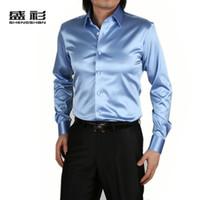 Wholesale New Men Silk satin Long Sleeve Shinny Shirt Fashion Wedding Suits Prom Groom Dress