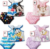 Cheap EMS DHL FEDEX Pajamas For Kids Sets 2015 Summer Baby Clothes Boys Girls Cartoon Animal Mouse Duck Printed T-shirts Briefs Underpants I3860