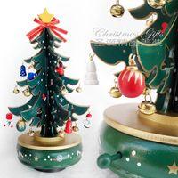 Wholesale TMC Christmas Gift Wooden Music Box Chritmas Tree Shape Revolve Sound Box Toy For Children Wedding Gift Toy