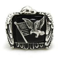 american flag eagle - 316L Stainless Steel Flying Eagle Flag Ring Band Party Fashion Jewelry Mens Band Party Cool Design Biker Flying Eagle Ring