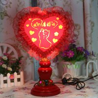 Wholesale We got married creative wedding wedding supplies heart shaped red cloth LED lamps and decorative festive d
