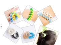 beauty free rubbers - New Hair Styling Telephone Cord Elastic Ponytail Holders Hair Ring Scrunchies Rubber Band Tie Ring Hair Seting Beauty Hair Tools Free Ship