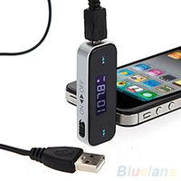 Wholesale 9368 Wireless mm Car LCD Display FM Transmitter Cable For iPhone S S ipod Touch JGC