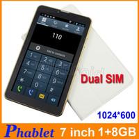 Wholesale 3G Tablet PC Phablet GB RAM GB ROM inch MTK6572 Dual SIM Android WCDMA G Unlocked Bluetooth GPS Wifi phone call Free case