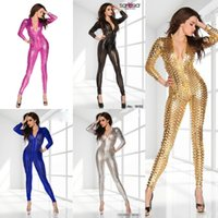 Wholesale Unitards DS Performance Clubwear Women Sexy rompers Patent Leather Hollow Out Holes Pole Dancing Jumpsuit Sexy Costumes C556