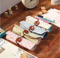 floral supplies - Floral Print Offics School Supplies Children Stationery Folding Pencil Bags Funky Korean Fashion Pencil Cases Green Blue Beige Pink K2956