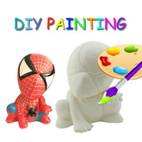 Wholesale 13 Designs Can Mixed DIY Spiderman Painting Toy Children gifts Cartoon DIY Toys Used In DIY For Kids Painting With Brush and Paint
