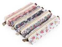 floral supplies - New Arrive High Quality Mini Retro Flower Floral Lace Pencil Case pencil bag school supplies Cosmetic Makeup Bag Zipper Pouch Purse