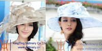 ladies fashion hats - June syoung Summer Fashion Organza Hats for Women Blue and Khaki Two Colors Elegant Lady Fedora Two Hats Package Cheaper