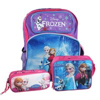 Cheap Children Fashion Frozen Sets Lunch Bags School Bags and Pencil Case Children Kids Cartoon Bags and Sets Free Shipping