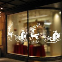 Wholesale 2016 Christmas decoration Santa Clauswords deer wall sticker home decor shop store Chirstmas party window stickers decoration
