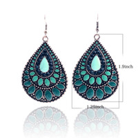 Wholesale Summer Fashion Big Earrings for Women Vintage Gold Plated Enamel Waterdrop Dangle Earring Indian Jewelry Brincos Grandes Earing ER140036
