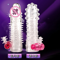 aids condoms - 2 styles penis sleeve lengthen Vibrator condoms Extender Condom for Time Delay Importence Aid Adult Sex toys