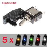Wholesale 5 x V A Universal Car Toggle Switch NO OFF High Security SPTS LED Light Switch Red Blue Yellow Green White Colors order lt no track