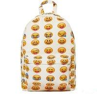 Wholesale Fashion Emoji Printing canvas features Zipper Pocket Boys Girls Lady Man Backpacks Women Men Backpack Bags Outdoor Packs D5043