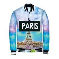 Wholesale Fall styles New Spring Autumn casual jacket Paris Eiffel Tower print D jacket men baseball coat hip hop winter outdoor coat
