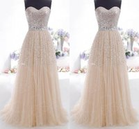 Wholesale 2015 Cheap Prom Dresses Champagne Sweetheart Lace Up Bling Sequins In Stock Formal Party Queen Lilac Coral Bridesmaid Dresses Evening Gowns