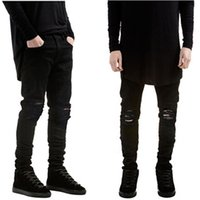 colored buttons - 2015 Fashion Casual Mens Destroyed Denim Jeans Cool Hole Slim Fit Hi Street Style Black Ripped Jeans Pants Men AY863