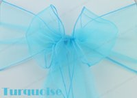 Wedding wedding chair sashes - Turquoise Organza Chair Sashes Bow Ribbons Cover Wedding Party Banquet Decorations