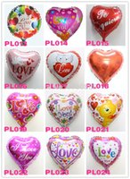 Wholesale I LOVE YOU helium balloons for wedding party inch heart four designs mylar ballons hot selling