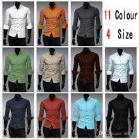 Wholesale 11Colour New Fashion Men Shirt Long Sleeve M XXL Mens Shirts Slim Fit Camisa Masculina Social Chemise Homme Mens Dress Shirt