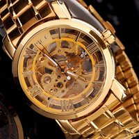 Wholesale Luxury Brand Gold Mens Automatic Self Winding Hollow Mechanical Wrist Watch Military Style Men Wristwatches Mens Watch