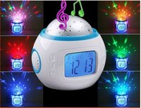 Wholesale Electronic Music Starry Star Sky Projection Alarm Clock Calendar Thermometer Desktop LED Table Clocks Multifunction Alarm Clock