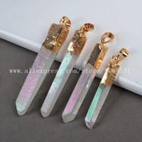 auras color - Hot Gold plated Angel Aura Quartz Pendant Bead Titanium Quartz Crystal Point electroplated AB color Druzy pendant