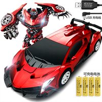 Wholesale RC Deformation Robot Car Rechargeable Remote Controlled One Key Deformation G CH Radio Control Toys